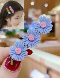 Fashion Blue Gray Series Small Daisy Hit Color Flower Hairpin