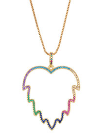 Fashion Color Micro Inlaid Zircon Leaf Necklace
