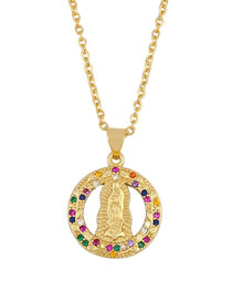 Fashion Golden 18k Gold Plated Virgin Necklace With Diamonds