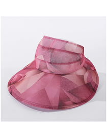 Fashion Leather Red Big Color Matching Hat With Geometric Top