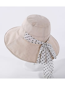Fashion Beige Polka-dot Cotton Linen Bow Hat
