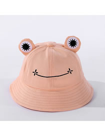Fashion Pink Frog-shaped Cotton Fisherman Hat With Big Eyes