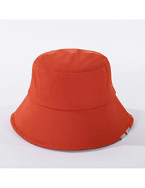 Fashion Orange Pure Color Metal Patch Cotton Fisherman Hat