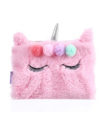 Fashion Light Pink Unicorn Plush Eyelash Pencil Case