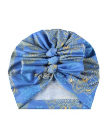 Fashion Blue Polyester Cotton Pleated Bow Hat