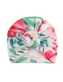 Fashion White Flower Print Donut Kids Hat