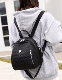 Fashion Black Embroidered Diamond Backpack With Zip
