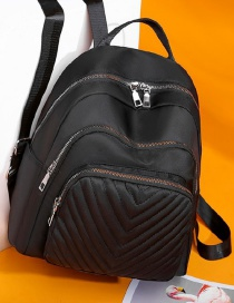 Fashion Black Double Zipper Anti-theft Diamond Backpack