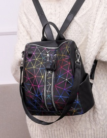 Fashion Black Printed Stitched Backpack With Zipper