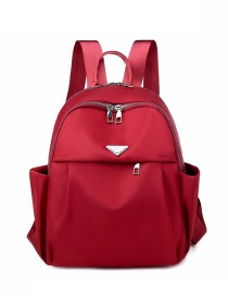 Fashion Red Nylon Letter Logo Double Zip Backpack