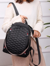 Fashion Black Embroidered Diamond Double Zipper Backpack