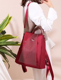 Fashion Red Multifunctional Geometric Studs Backpack