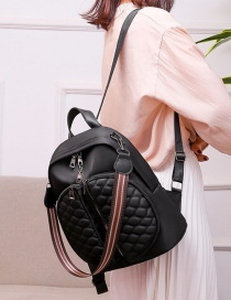 Fashion Black Multifunctional Pu Leather Diamond Embroidered Shoulder Backpack