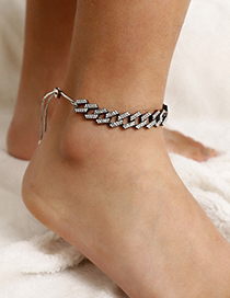 Fashion Gun Black Full Diamond Adjustable Bare Feet Naked Chain
