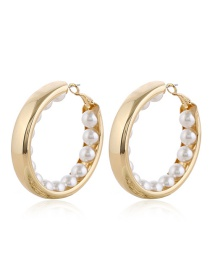 Fashion Yellow Hoop Earrings With Pearls