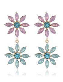 Fashion Golden Flower Alloy Earrings With Rhinestones