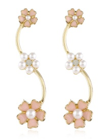 Fashion Color Dripping Pearl Flower Alloy Earrings