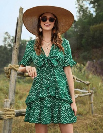 Fashion Green Floral Stitching Ruffled V-neck Lace-up Flared Sleeve Dress