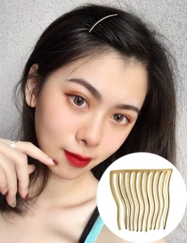 Fashion Large Gold Electroplated Real Gold Wavy Bending Hair Clip