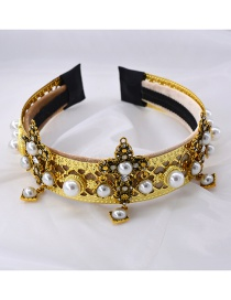 Fashion Black Cross-studded Pearl Alloy Wide-edge Hair Band