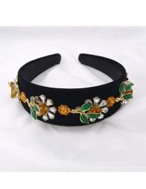Fashion Black Wide-edge Rhinestone Flower Leaves Drip Oil Headband
