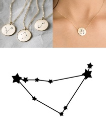 Fashion Golden-capricorn (13mm) Stainless Steel Geometric Round Engraved Constellation Necklace
