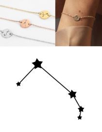 Fashion Rose Gold-aries (9mm) Round Stainless Steel Gilt Engraved Constellation Bracelet