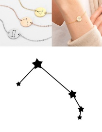 Fashion Steel Color-aries (13mm) Round Stainless Steel Gilt Engraved Constellation Bracelet