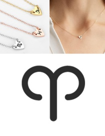 Fashion Rose Gold-aries (7mm) Love Carved Constellation Stainless Steel Clavicle Chain