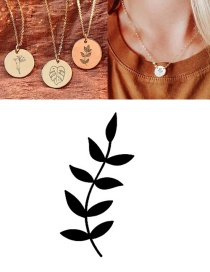 Fashion Steel Color (9mm) Titanium Steel Carved Plant Geometric Round Necklace