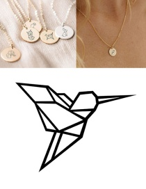 Fashion Steel Color-woodpecker Stainless Steel Carved Animal Geometric Round Titanium Steel Necklace 9mm