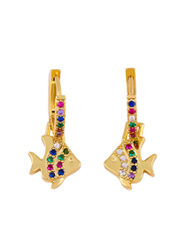 Fashion Golden Fish-shaped Alloy Pierced Earrings With Color Diamonds