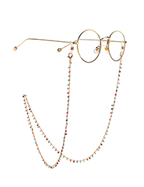 Fashion Color Small Colored Beads Non-slip Handmade Alloy Glasses Chain
