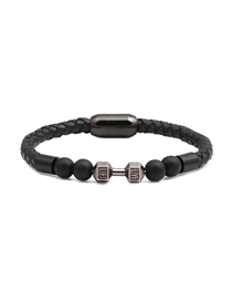 Fashion Black 8mm Black Frosted Dumbbell Stainless Steel Magnetic Buckle Leather Bracelet