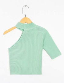 Fashion Green Short Sleeve Asymmetric T-shirt