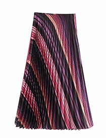 Fashion Photo Color Color Striped Pleated Skirt