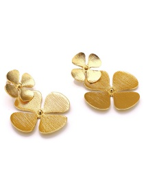 Fashion Flowers Gold Alloy Brushed Earrings
