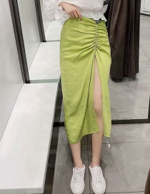 Fashion Yellow-green Pleated Split Skirt