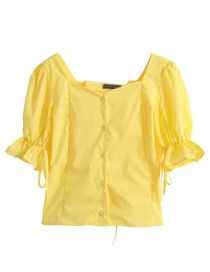 Fashion Yellow Square Collar Back Lace Up Puff Sleeve Shirt