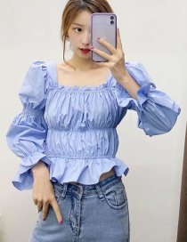 Fashion Blue Crinkled Square Collar Lamb Sleeve Pullover Shirt
