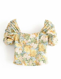 Fashion Yellow Ink Print Pleated Cropped Shirt