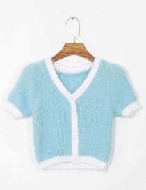 Fashion Blue Covered And Stitched Fur-knit Short Sleeves