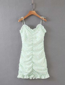 Fashion Green Elastic Ruched Fungus Floral Camisole Dress
