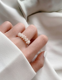 Fashion White C Natural Freshwater Pearl Stretch Woven Ring