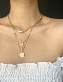 Fashion Golden Three-layer Cross Disc Necklace