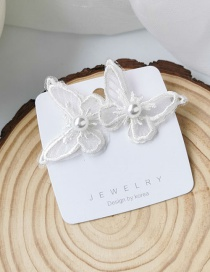 Fashion White Embroidered Butterfly Earrings