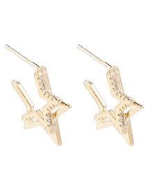 Fashion Golden 925 Silver Needle Zircon Double Layer Notched Five-pointed Star Stud Earrings