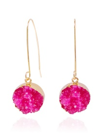 Fashion Rose Red Alloy Resin Geometric Earrings