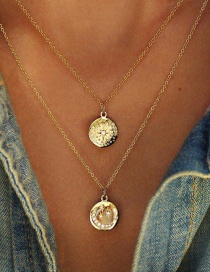 Fashion Golden Alloy Disc Embossed Star-shaped Crescent Moon-set Diamond Multi-layer Necklace