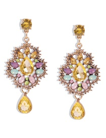 Fashion Color Alloy Diamond Hollow Flower Earrings